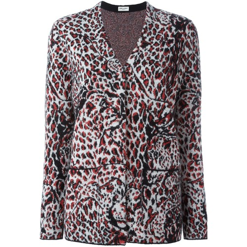 SAINT LAURENT Animal Print Cardigan