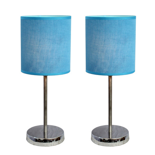 Simple Designs Chrome Mini Basic Table Lamp with Fabric Shade 2 Pack Set Blue