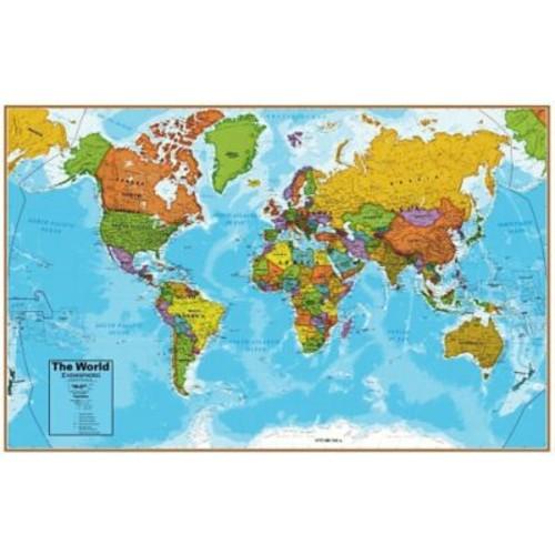 Round World Products Hemispheres Laminated U.S./World Map, 2/Pack