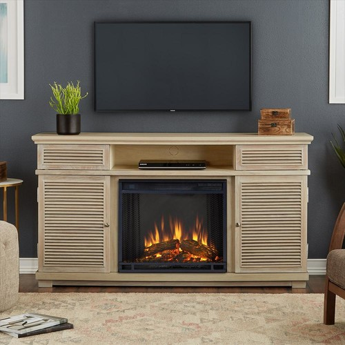 Real Flame Cavallo 59 in. Entertainment Electric Fireplace in Weathered White