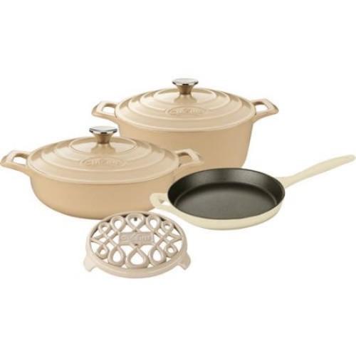 La Cuisine LC 2885 6 Piece Enameled Cast Iron Round Casserole/Trivet Cookware Set, Cream