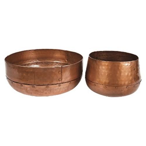 Round Hammered Bowls Aluminum - Antique Copper (13\