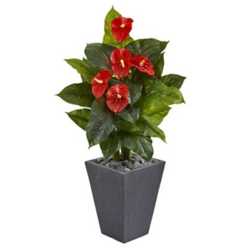 Nearly Natural 4-Foot Real Touch Anthurium in Slate Planter