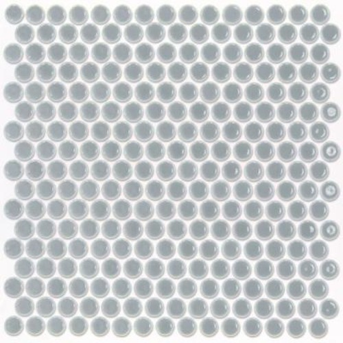 Splashback Tile Bliss Edged Penny Round Polished Modern Gray Ceramic Mosaic Floor and Wall Tile - 3 in. x 6 in. Tile Sample