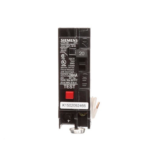 Siemens QE120 Ground Fault Equipment Protection Circuit Breaker; 1-Pole, Plug-In Mount