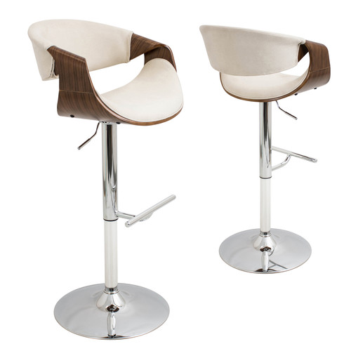 Lumisource Curvo Height Adjustable Barstool with Swivel [Floor to Seat Height (in.) : 34]