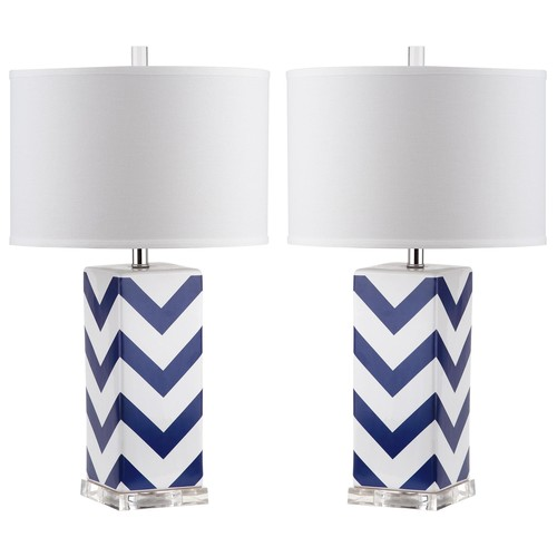 Set of Two Chevron Stripe Table Lamps in Navy design by Safavieh