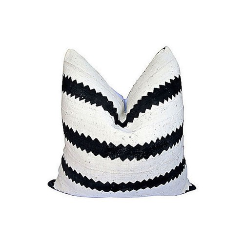 African Mud-Cloth & White Linen Pillow