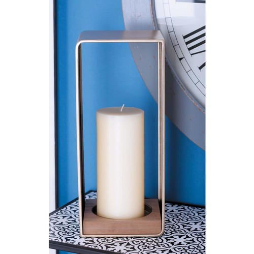 15 in. Wood and Brown Metal Frame Candle Holder