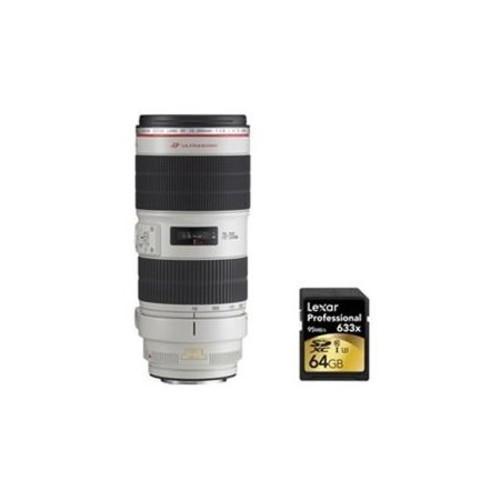 Canon EF 70-200mm f/2.8L IS II USM Telephoto Zoom Lens f/Canon SLR Cameras w/64GB Card - E5CN70200USMLISII