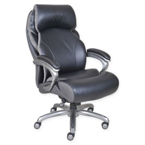 Serta Tranquil Big & Tall Leather Executive Office Chair with AIR in Black
