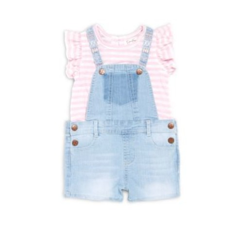 Jessica Simpson - Baby's Two-Piece Striped Top & Denim Overall Set