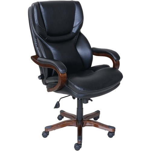 Serta - 5-Pointed Star Bonded Leather and Bentwood Executive Chair - Black