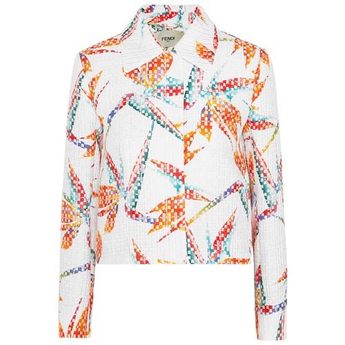 Bird of Paradise printed matelass satin jacket