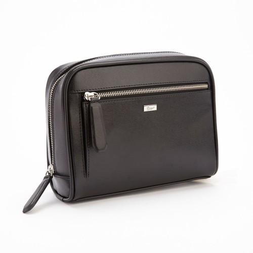 Royce Leather Toiletry Travel Grooming Wash Bag, Black