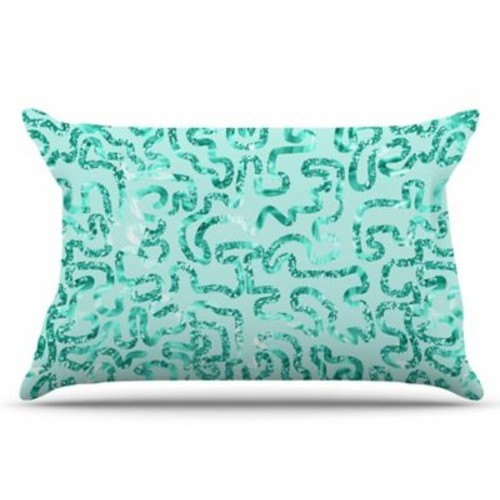 East Urban Home Anneline Sophia 'Squiggles In Teal' Abstract Pillow Case