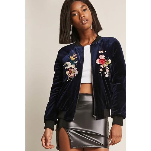 Velvet Floral Embroidered Bomber Jacket