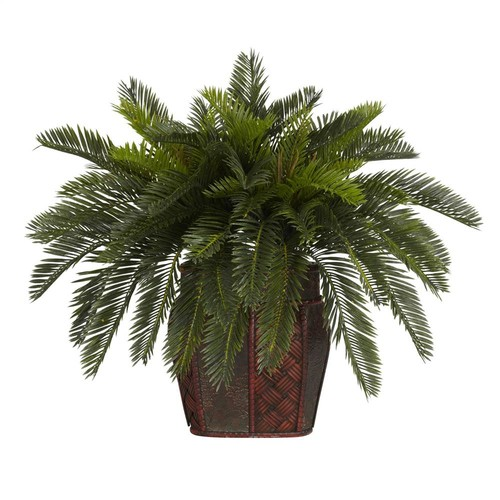 Nearly Natural Double Cycas w Vase Silk Plant