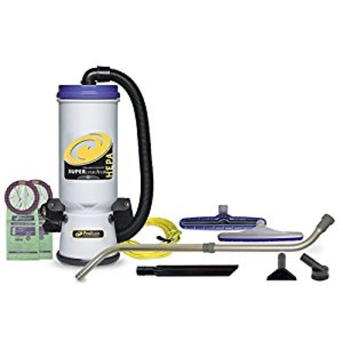 ProTeam Backpack Vacuums, Super CoachVac Commercial Backpack Vacuum Cleaner with HEPA Media Filtration and Telescoping Wand Tool Kit, 10 Quart, Corded [7pc Commerical Tool Kit (Telescoping Wand)]