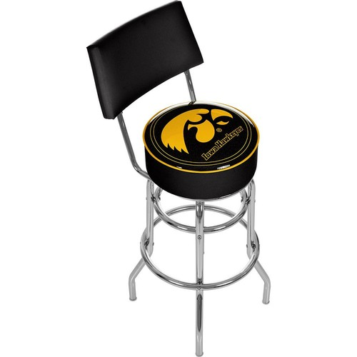Trademark Games Iowa Hawkeyes Padded Swivel Bar Stool with Back