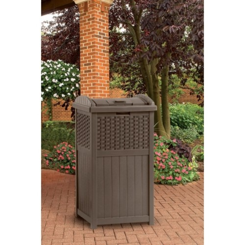 Suncast Trash Hideaway 30 gal. Resin Wicker Trash Can(GH1732J)
