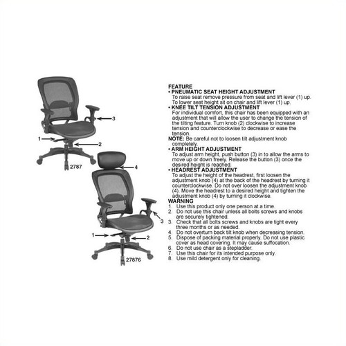 SPACE Seating Breathable Mesh Seat and Back, 2-to-1 Synchro Tilt Control, Adjustable Arms and Lumbar Support, with Gunmetal Finish Base Managers Chair, Black [Mesh Seat, No Headrest]