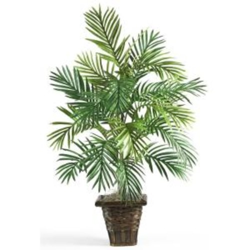 Nearly Natural 38 in. Areca Palm Silk Plant with Wicker Basket