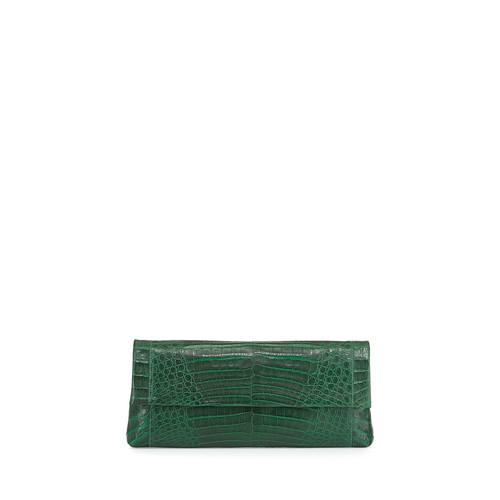 NANCY GONZALEZ Gotham Crocodile Flap Clutch Bag, Green Matte