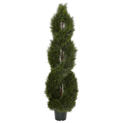 Nearly Natural Green Plastic 5-foot Pond Cypress Spiral Indoor/Outdoor Topiary