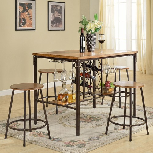 Baxton Studio Vintner Pub Table & Stool 5-piece Set