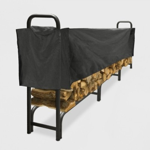 Pleasant Hearth 12' Heavy Duty Log Rack with Half Cover - Black