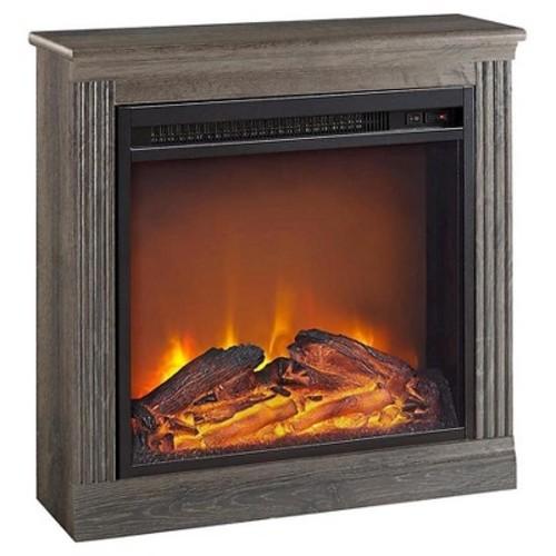 Ameriwood Home Bruxton Electric Fireplace, Medium Brown [Medium Brown, 18]