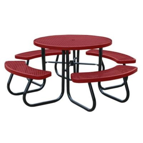 Paris 46 in. Red Picnic Table with Built-In Umbrella Support