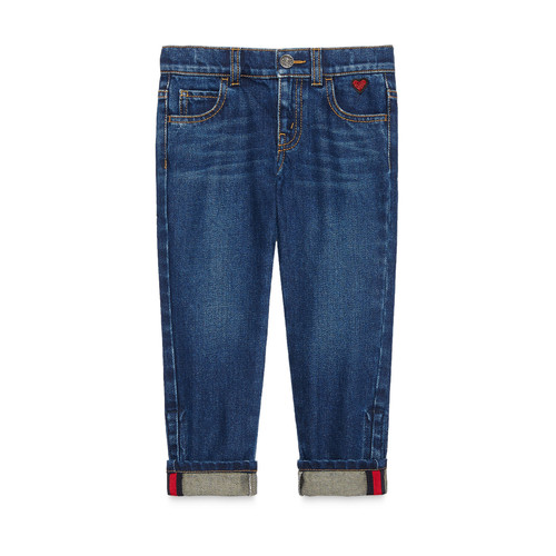 GUCCI Medium Washed Skinny Jeans, Blue, Size 4-12