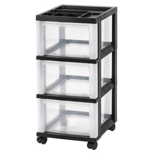 IRIS 3-Drawer Storage Cart, Black, 2 Pack (116807)