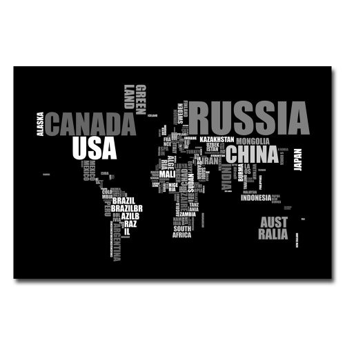 World Text Map III by Michael Tompsett, 16x24-Inch Canvas Wall Art [16 by 24-Inch]
