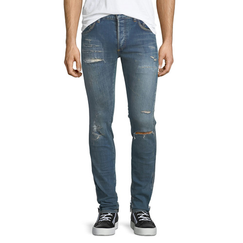 SAINT LAURENT Original Low-Waist Destroyed Skinny Jeans