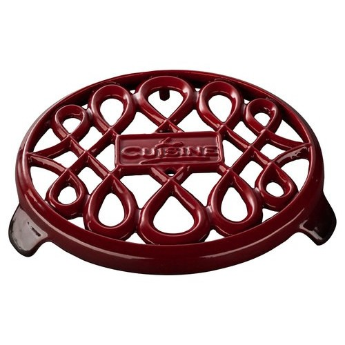La Cuisine Cast Iron Non-Slip Red Trivet