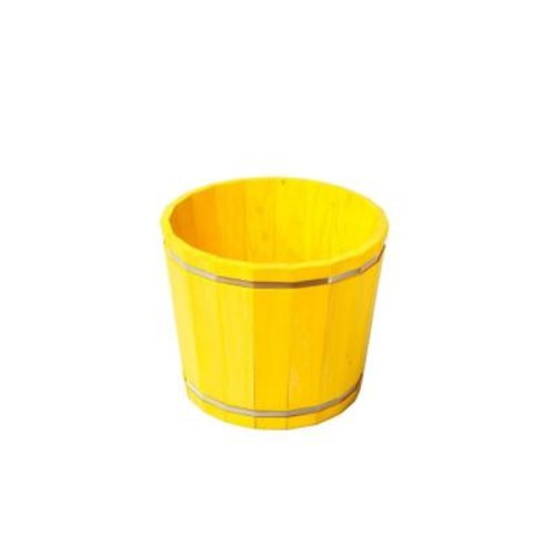KD Barrel in a Box Wood Planter in Yellow
