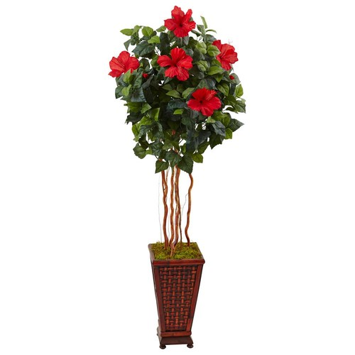 Nearly Natural Indoor Hibiscus Artificial Tree in Decorated Wooden Planter