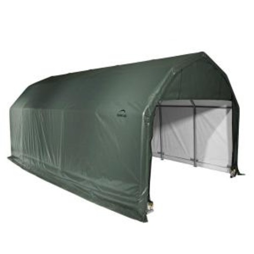 ShelterLogic 12 ft. x 24 ft. x 11 ft. Green Steel and Polyethylene Garage without Floor