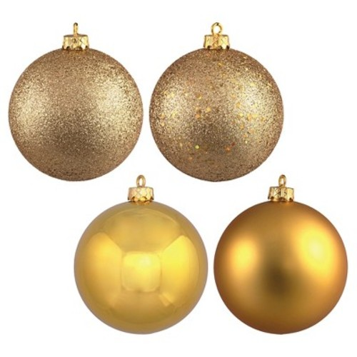 4ct Gold Assorted Finishes Ball Shatterproof Christmas Ornament Set