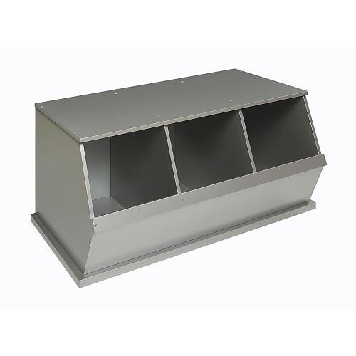 Badger Basket Three Bin Storage Cubby - Silver