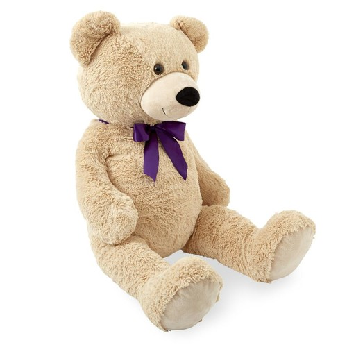 Animal Alley 43 inch Purple Bow Stuffed Teddy Bear - Tan