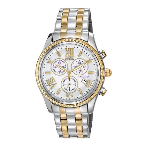 Citizen 40mm Two-Tone Chronograph Bracelet Watch, White