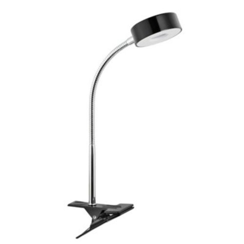 Globe Electric LED for Life Integrated Clip Lamp in Glossy Black