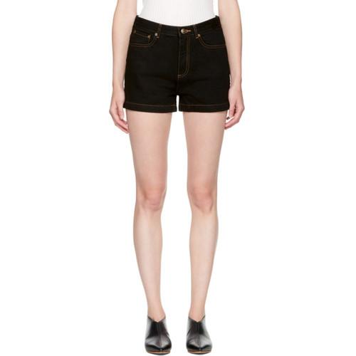 A.P.C. Black Denim High Standard Shorts