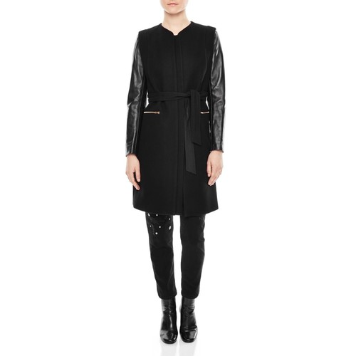 SANDRO Gloria Leather-Sleeve Coat