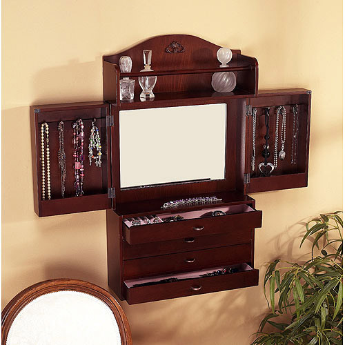 Southern Enterprises Jewelry Armoire Wall Mount with Mirror, Rich Cherry Finish [Cherry, XL Chest]