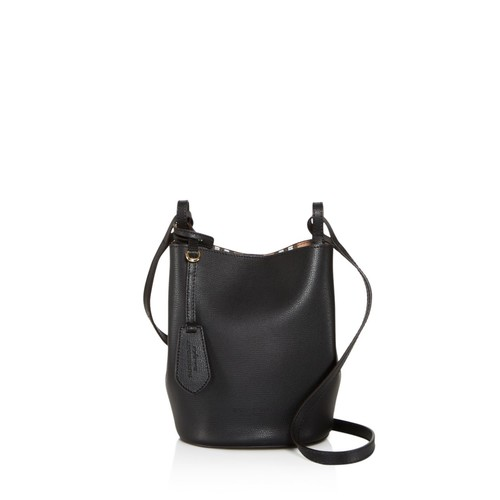 BURBERRY Lorne Haymarket Check Small Leather Bucket Bag